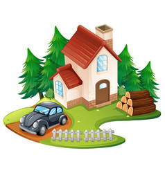 Single house with black car parked in front vector