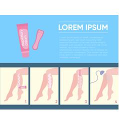 template with scheme of applying depilatory cream vector image