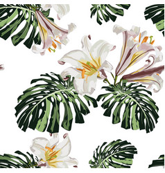 Tropical monstera leaves and white lilies flowers vector