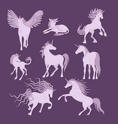Unicorns image collection vector