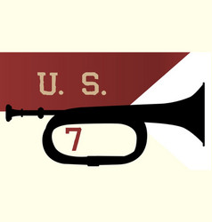 Us 7th cavalry ensign and bugle vector
