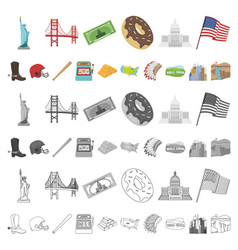 usa country cartoon icons in set collection for vector image