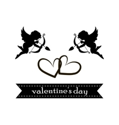 valentines day cards with ornaments hearts angel vector image