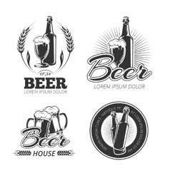 Vintage beer emblems labels badges logos vector image