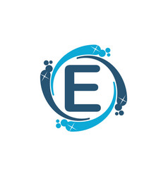 Water clean service abbreviation letter e vector
