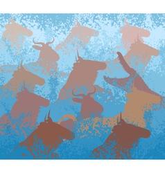 Wilderbeest swimming river vector image