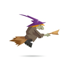 Witch on a broomstick isolated on a white backgrou vector