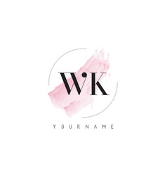 Wk w k watercolor letter logo design vector