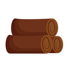 wooden trunks on white background vector image