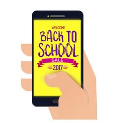 back to school banner on smartphone vector image