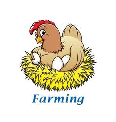 Cartoon hen character vector image