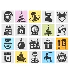 Christmas set black icons signs and symbols vector image