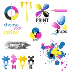CMYK design elements vector image vector image