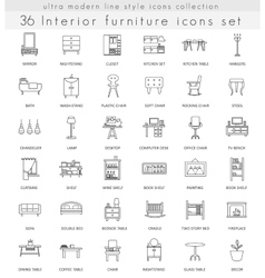 Furniture ultra modern outline line icons vector image