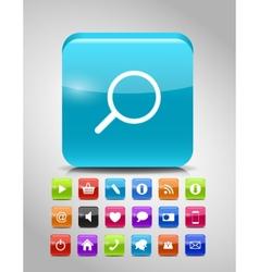 Glass Button Icon Set vector image vector image