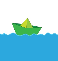 paper boat at sea color vector image