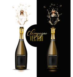 realistic champagne explosion set vector image vector image