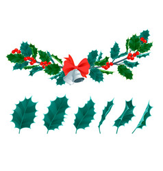 Christmas decorative leaves holly and branches vector