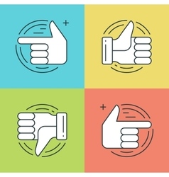Flat line icons set Thin linear stroke vector image vector image