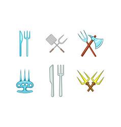 fork icon set cartoon style vector image vector image