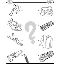 match objects educational coloring page vector image