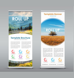 set of vertical roll up banners with round design vector image