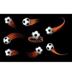 soccer balls or football icon with fire motion vector image