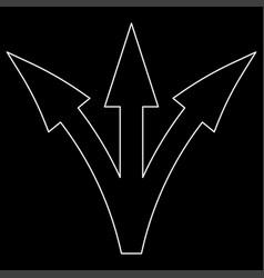 three way direction arrow white color path icon vector image vector image