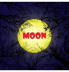 Yellow moon with dark trees vector