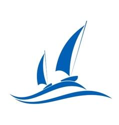 Sailing or yachting emblem vector image vector image