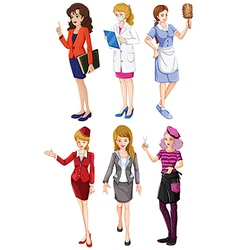 Six girls with different professions vector image vector image