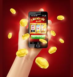 slot machine mobile app 3d vector image