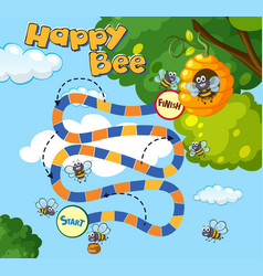 Boardgame template with bees flying vector