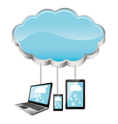cloud storage connected with tech device set vector image