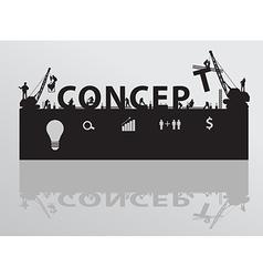 Construction site crane building concept text vector image vector image