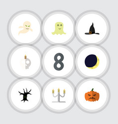 flat icon halloween set of candlestick crescent vector image