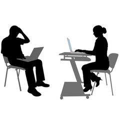 man and woman with laptops vector image vector image