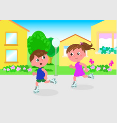 young skaters in town vector image vector image