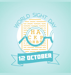 12 october world sight day vector image