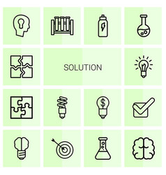 14 solution icons vector image