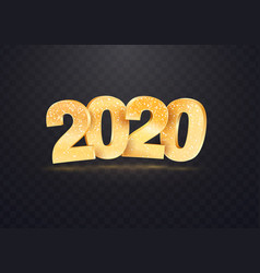 2020 golden numbers on transparent vector image