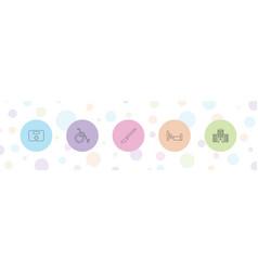 5 hospital icons vector