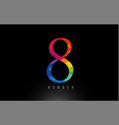 8 number rainbow colored logo company icon design vector