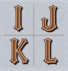 Alphabet western letters vintage design i j k vector