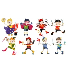 Amusing characters boys in carnival costumes vector