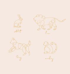 animal pen line rabbit beige animal pen line vector image