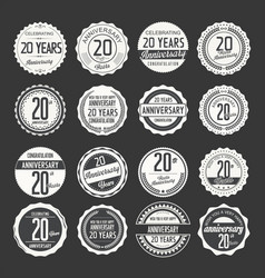 Anniversary retro labels 20 years collection 3 vector