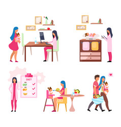 Baby weight control flat set mother and daughter vector
