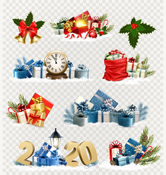 big set christmas and new year holiday icons vector image