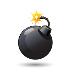 Black round bomb with burning fuse icon isolated vector